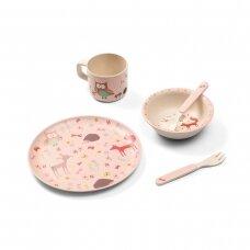 BabyOno indų rinkinys iš bambuko rožinis, miškas: puodukas, lėkštė, šaukštas, šakutė, 1101/03