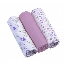 BabyOno vystyklai medvilniniai 3 vnt, violetiniai