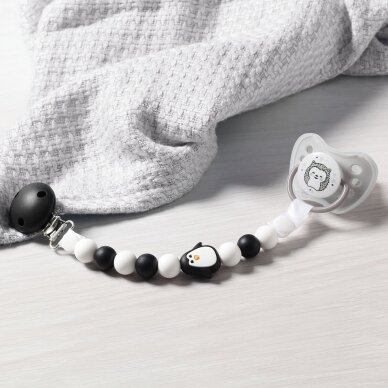 BabyOno čiulptuko laikiklis, juoda - balta, pingvinas 719/05 3