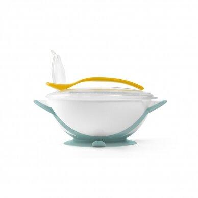 BabyOno lėkštė limpančiu dugnu + šaukštelis Nuo 6+ mėn., geltonas,  1063/04 2