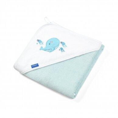 BabyOno rankšluostis su gobtuvu bambukinis 85x85 mėlynas, banginis, 343/05