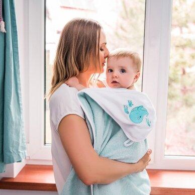 BabyOno rankšluostis su gobtuvu bambukinis 85x85 mėlynas, banginis, 343/05 4