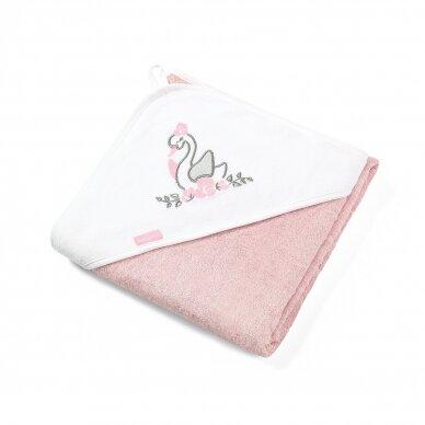 BabyOno rankšluostis su gobtuvu bambukinis 85x85 rožinis, gulbė, 343/04