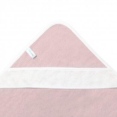 BabyOno rankšluostis su gobtuvu bambukinis 85x85 rožinis, gulbė, 343/04 2