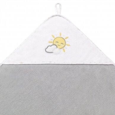 BabyOno rankšluostis su gobtuvu frotinis 100x100, pilkas TERRY, 142/08 2