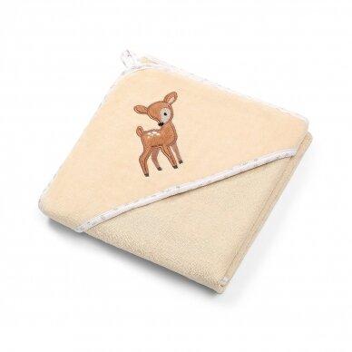 BabyOno rankšluostis su gobtuvu veliūras 100x100 kreminis, elniukas, 540/05