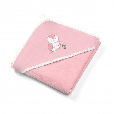 BabyOno rankšluostis su gobtuvu veliūras 100x100 rožinis, pelėda, 540/03